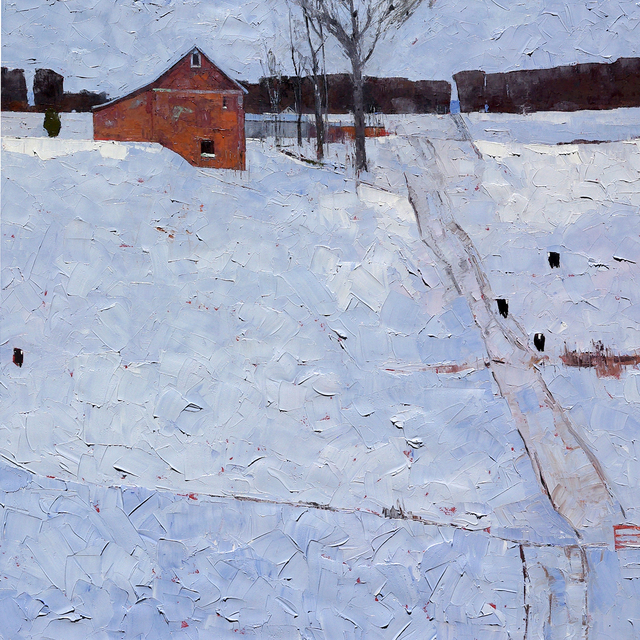 , 'Red Barn in Winter,' , Trailside Galleries