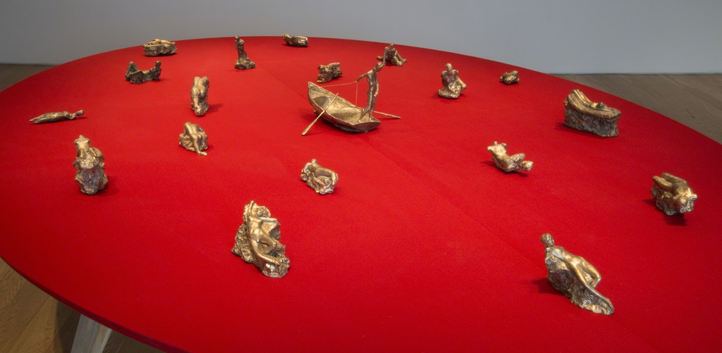 Installation view of small bronzes