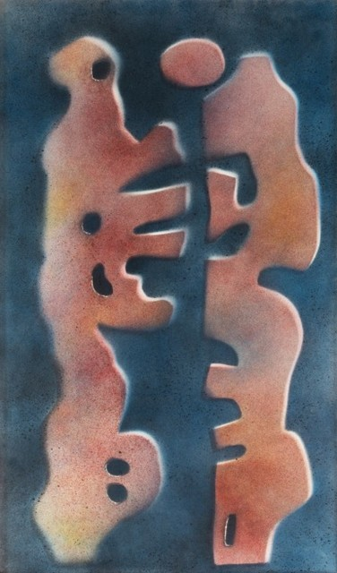 Hamed Abdalla, 'LOVERS (FROM THE SHANDAWILI SERIES)', 1960, Painting, Acrylic spray on paper laid on board, Mark Hachem Gallery