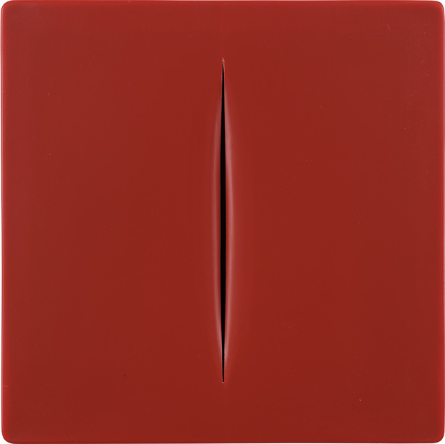 Lucio Fontana, 'Concetto Spaziale (rosso) (R. & R. M-15)', 1968, Mixed Media, Vacuum-formed plastic, with accompanying publication and cardboard slipcase with printed artist's name, with accompanying Galeria René Métras certificate of authenticity., Phillips