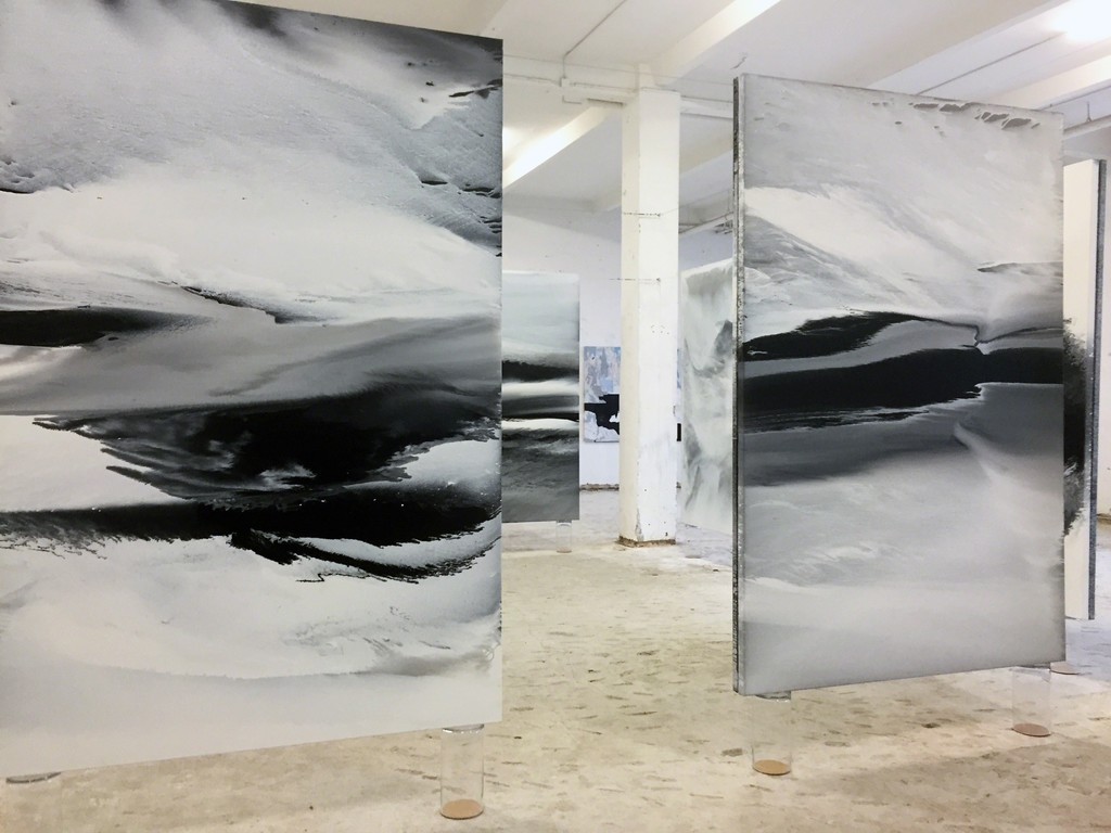 View into the exhibition with several of her 240 x160 cm paintings; photo: gallery