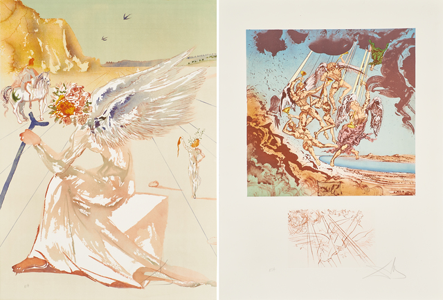 Salvador Dalí, 'Return of Ulysses/Helen of Troy from Hommage à  Homère', 1977, Print, Two lithographs in colors in hardcover portfolio, Rago/Wright