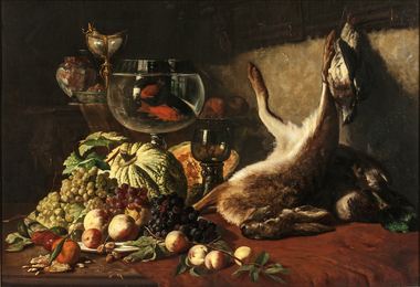Still Life with Fruit, Goldfish, and Hare