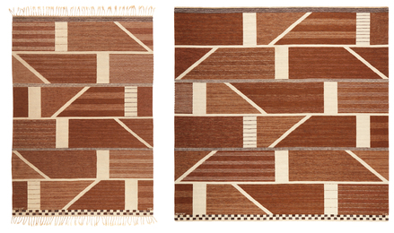 "Two ""Korsvirke brun"" rugs"