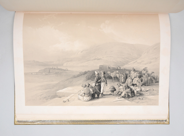 David Roberts, 'The Holy Land, Syria, Idumea, Arabia, Egypt, & Nubia. From drawings made on the spot. With historical descriptions by the Revd. George Croly, LL.D. Lithographed by Louis Haghe', 1842-1845, Books and Portfolios, 3 volumes, large folio (600 x 427 mm). Contemporary green morocco binding by John Adlard of London (his stamp to first front free endpaper), spines lettered in gilt, compartments and covers elaborately blocked in gilt, wide gilt turn-ins, marbled endpapers, gilt edges. Tinted lithograph portrait of Roberts by C. Baugniet, three tinted lithographed vignette title pages (one of which is duplicated, see below), and 120 tinted lithographed plates, each with guards., Peter Harrington Gallery