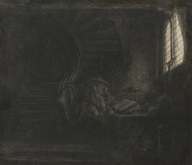 Rembrandt van Rijn, 'Saint Jerome in a Dark Chamber', 1642, John Moran Auctioneers
