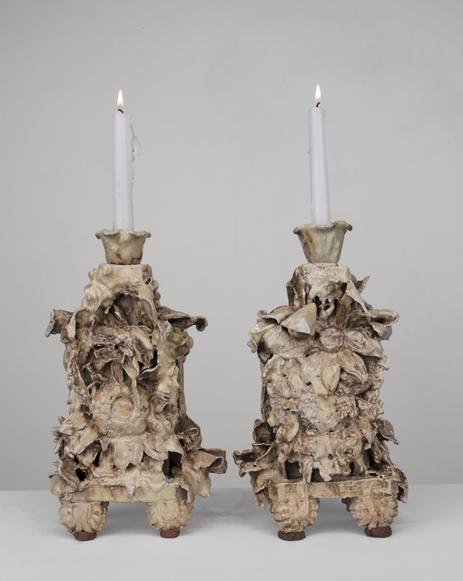 , 'Pair of Candelabras (yellow, brown, gray),' 2014, Conduit Gallery
