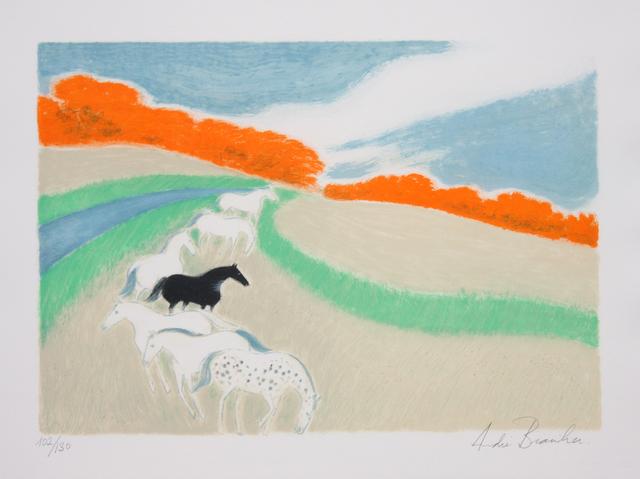 Andre Brasilier, 'Chevaux Dans Le Pre', 1980, Print, Lithograph, Denis Bloch Fine Art