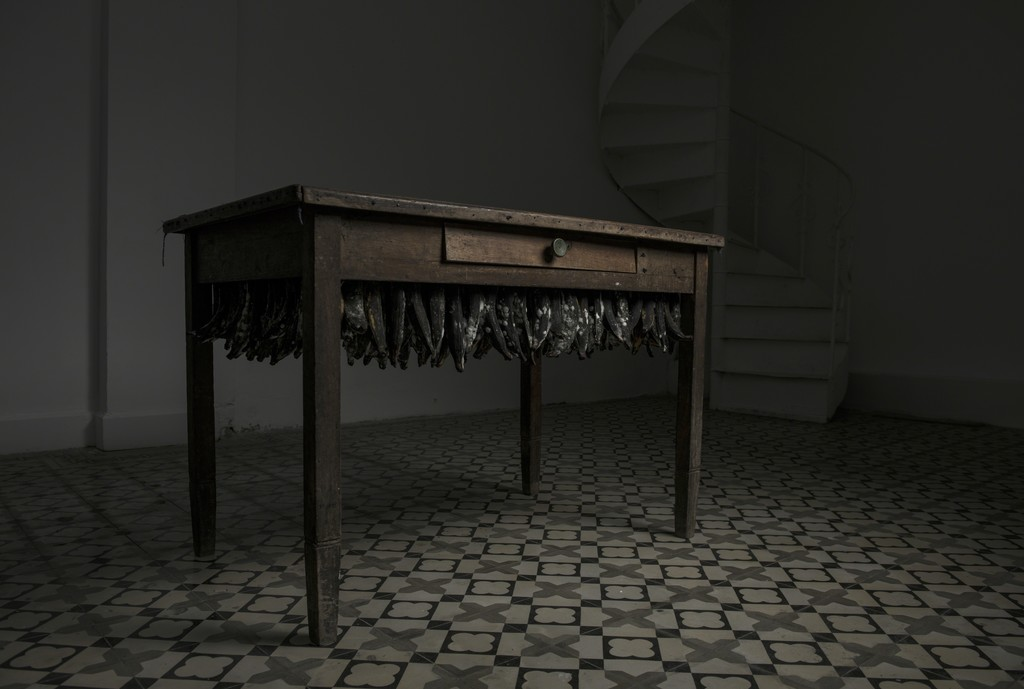 Untitled, 2016  Wooden table, bananas 118cm x 75cm x 80cm