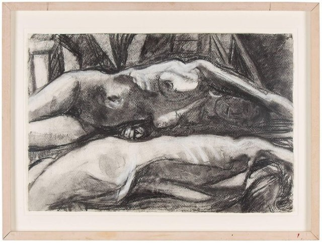 Steven Harvey, 'Untitled (7) Figural Expressionist Nude Charcoal Drawing', 2000-2009, Lions Gallery