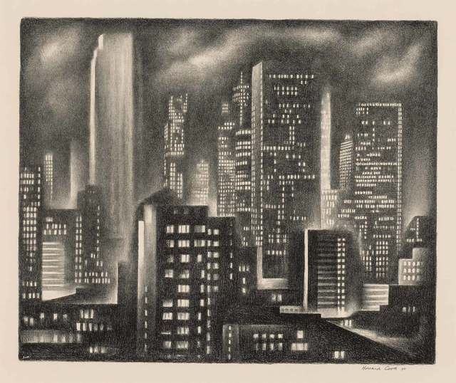 Howard N. Cook, 'NEW YORK NIGHT (D. 162)', 1931, Print, Lithograph, Doyle