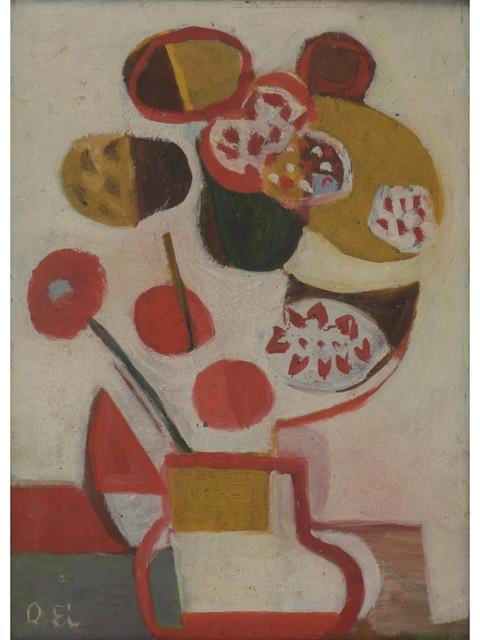 Ei-Q, 'Flowers', 1946, Painting, Oil on board, Shibunkaku
