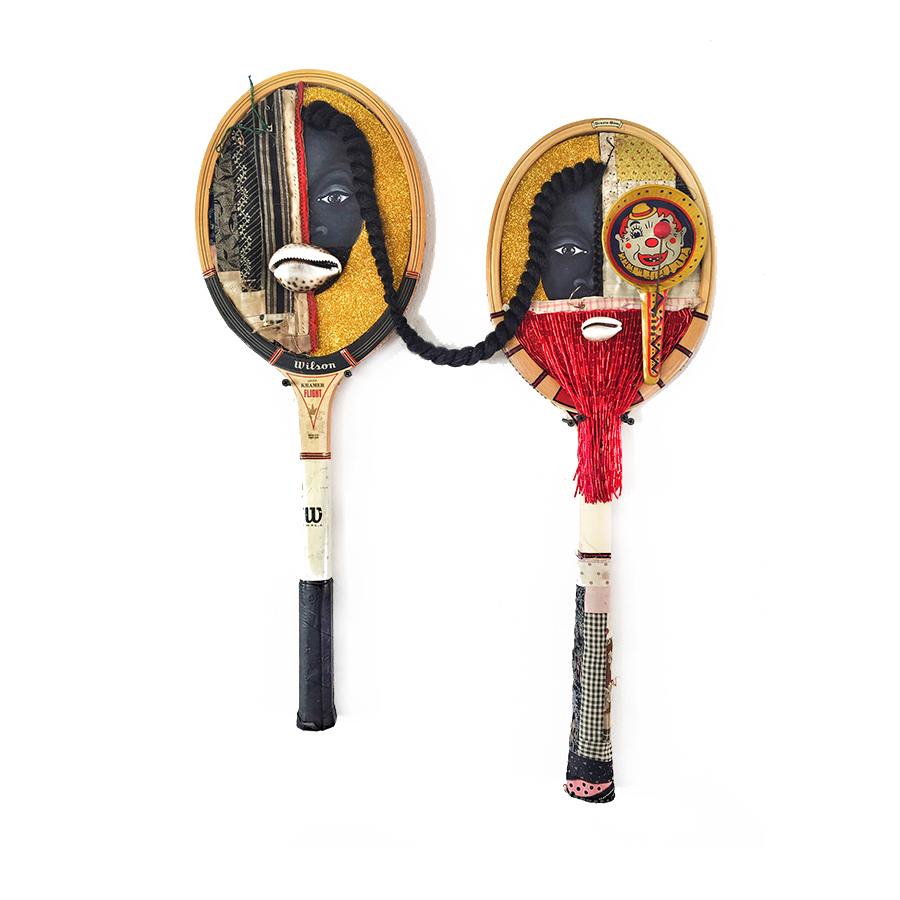 """""""Flight"""", Mixed media on tennis rackets"""