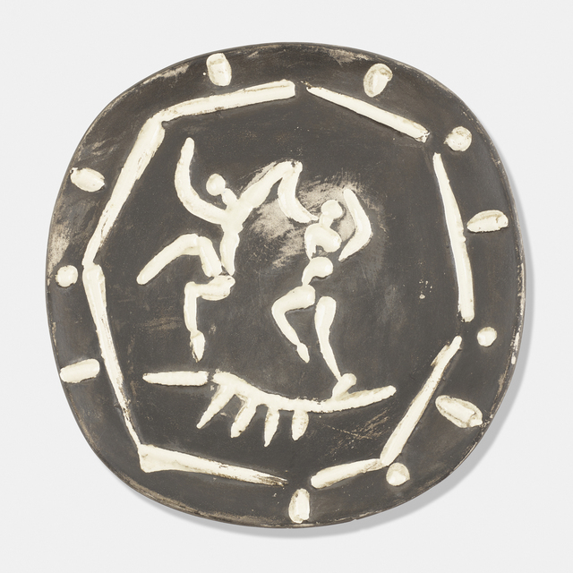 Pablo Picasso, 'Deux Danseurs plate', 1956, Textile Arts, Glazed earthenware with black patina, Rago/Wright