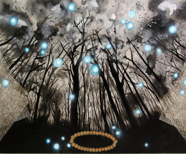 ", '""Harmonic Oscillator"" painting from Cosmic Encounter 16-B-2,' 2016, Linda Warren Projects"