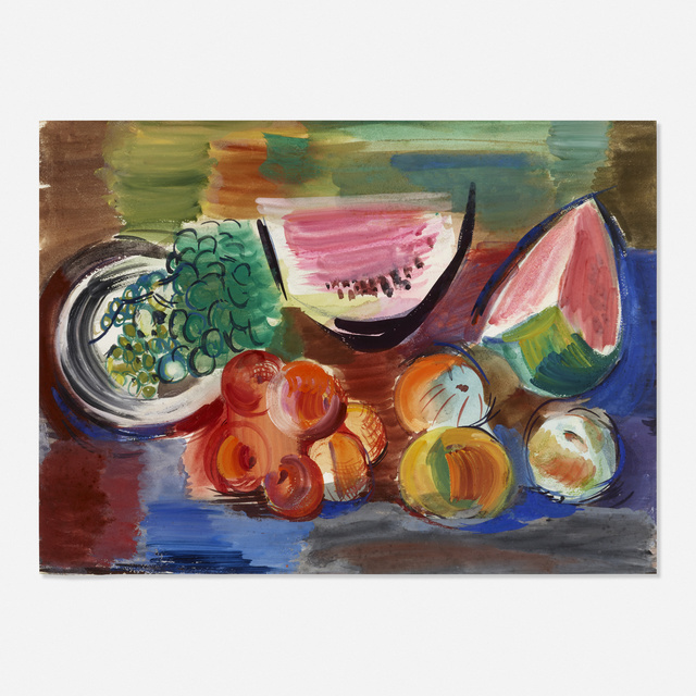 Vaclav Vytlacil, 'Untitled (still life with peaches and watermelon)', 1961, Painting, Tempera on paper, Rago/Wright