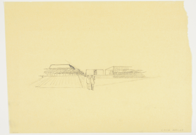 , 'National Assembly Complex in Dhaka, Bangladesh, Perspective Showing Plaza and Lake,' 1963, David Nolan Gallery