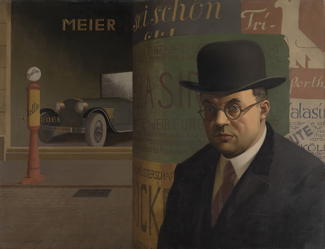 , 'Self-Portrait in Front of an Advertising Column (Selbstbildnis vor der Litfaßsäule),' 1926 , Los Angeles County Museum of Art