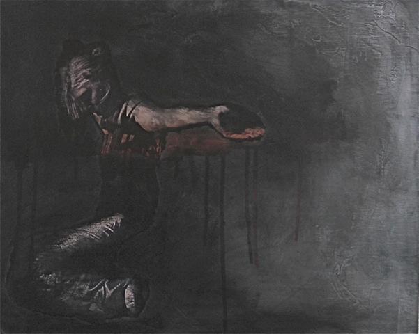 Virginie Bocaert, 'Noir désir 1', 2014, Painting, Mixed media on board, Thompson Landry Gallery