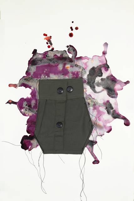 Margarita Cabrera, 'El Flujo de Extracciones (Retrato 1)', 2019, Drawing, Collage or other Work on Paper, Mixed media - Cochineal Gouache on paper with fabric collage and string, Ruiz-Healy Art