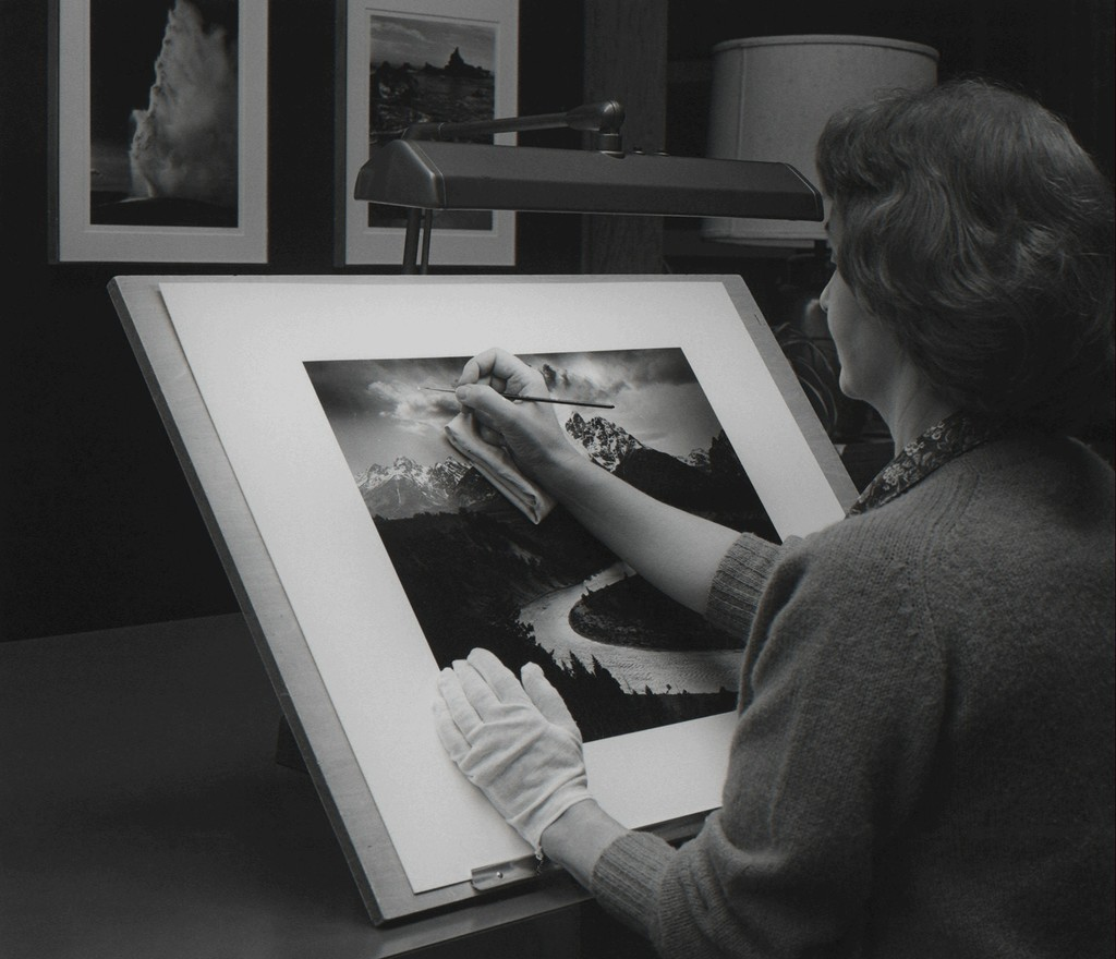 """Ansel Adams, """"Print Spotting (Portrait of Phyllis Donohue)."""" Published in Ansel Adams, """"The Print,"""" figure 7-10, p. 158. Copyright The Ansel Adams Publishing Rights Trust."""