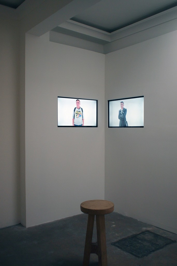 """Two videos of the """"Moving portraits"""" series, played asynchronous in the room dedicated to play movies"""