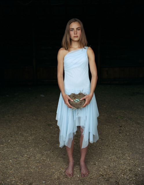 Laura McPhee, 'Mattie Holding a Robin's Nest, in Her Eighth Grade Graduation Dress Laverty Ranch, May 2005, Idaho 2/5', Gail Severn Gallery