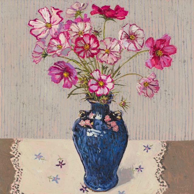 , 'Cosmos, blue vase,' 2018, Jan Murphy Gallery