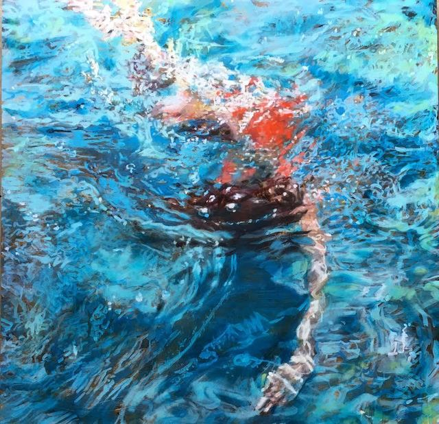 """Carol Bennett, '""""Kissing the Ground"""" Abstract oil painting of a woman in a red suit under blue water', 2019, Eisenhauer Gallery"""