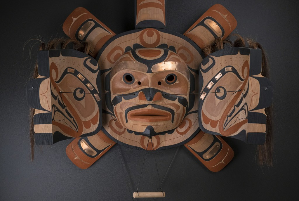 """Sun and Sisiutl Transformation Mask"" by Calvin Hunt (Kwakwaka'wakw / Kwagiulth) – 2000