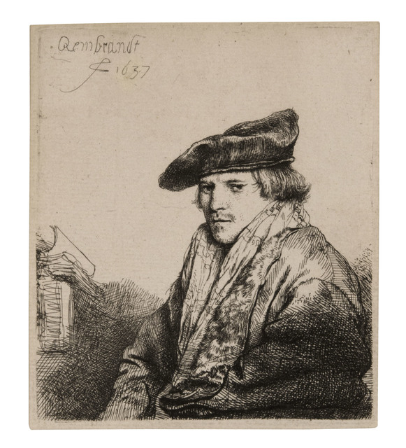 , 'Young Man in a Velvet Cap (Petrus Sylvius?),' 1637, David Tunick, Inc.