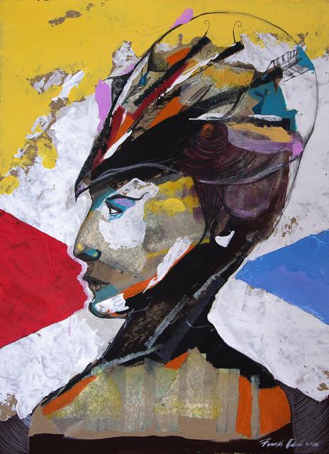 Frank David Valdés, 'El busto y la etiqueta / Bust and tag', 2020, Painting, Mixed media on paper, ArteMorfosis - Cuban Art Platform