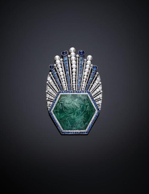 , 'Aigrette Robert Linzeler, Paris, 1910. Designed by Paul Iribe,' Emerald, India, ca. 1850–1900., Legion of Honor