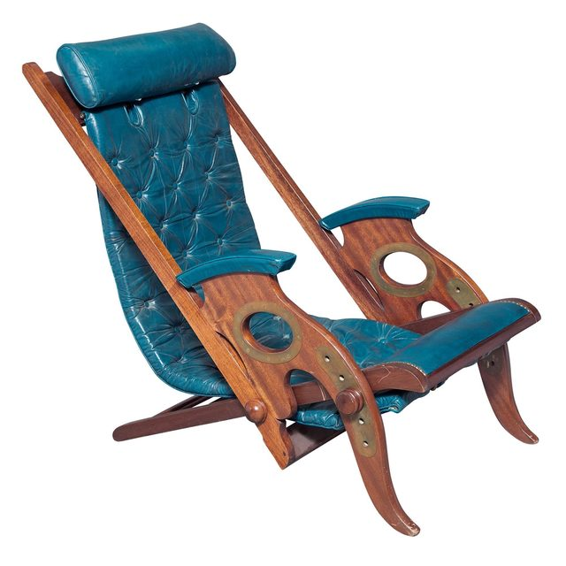 'Jean-Pierre Hagnauer Leather Upholstered Mahogany Adjustable Campaign-Style Deck Chair', 1950s, Doyle