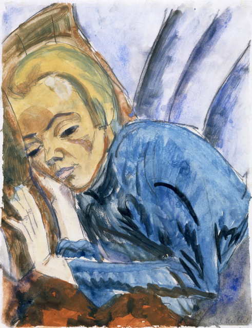 Erich Heckel, 'Resting Woman (Siddi Heckel)', 1913, Drawing, Collage or other Work on Paper, Watercolor, gouache and charcoal on heavy white wove paper., Galerie St. Etienne