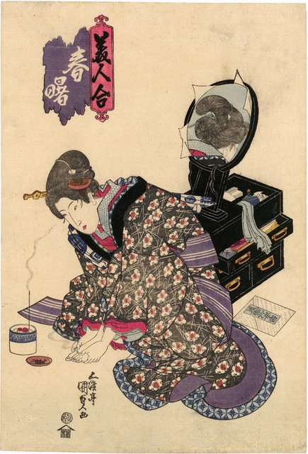 , 'A Contest of Beauties, Spring Dawn: Applying Moxa,' ca. 1822, Scholten Japanese Art