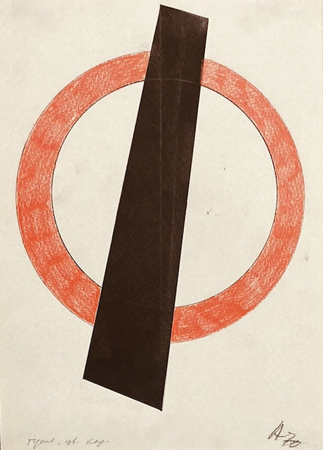 Vladimir Andreenkov, 'Orange Circle', 1970, Drawing, Collage or other Work on Paper, Indian ink and coloured pencil on paper, Nadja Brykina Gallery