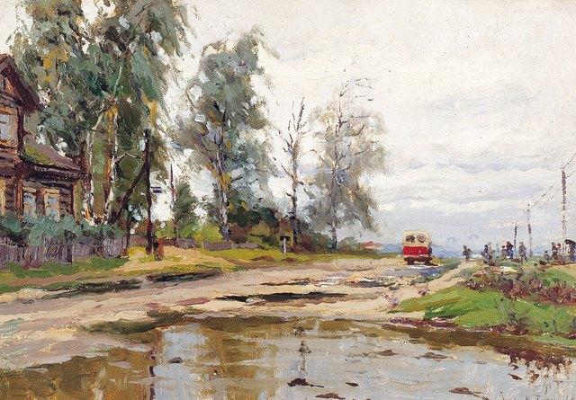 Vasily Vasilievich Tulin, 'Bus stop', 1960, Surikov Foundation