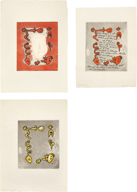 Joan Miró, 'Ruthven Todd Album, Poem for Diane Bouchard: three impressions', 1947, Phillips