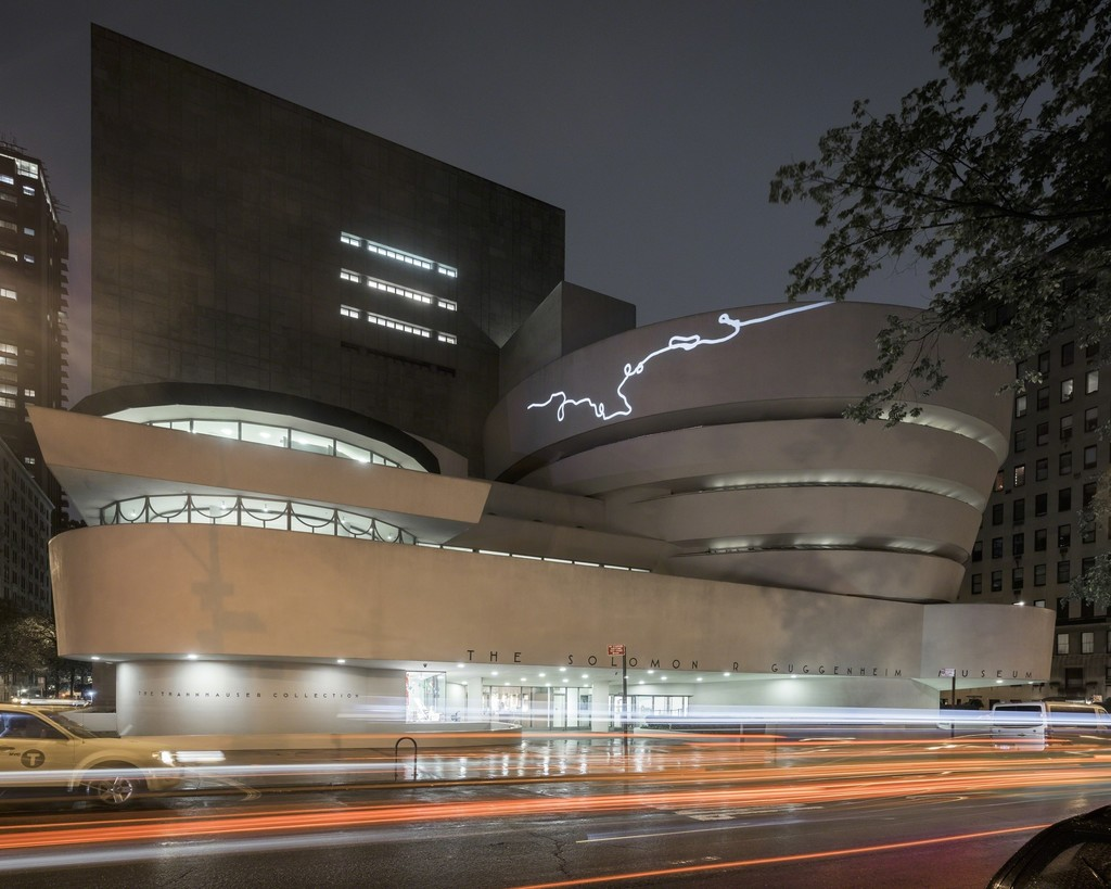 Agnieszka Kurant, End of Signature, 2015, site-specific projection. Solomon R. Guggenheim Museum, New York, Gift of the artist 2015.12. Installation view: Storylines: Contemporary Art at the Guggenheim, Solomon R. Guggenheim Museum, New York, June 5 - September 9, 2015. Photo: Kristopher McKay © Solomon R. Guggenheim Museum, New York