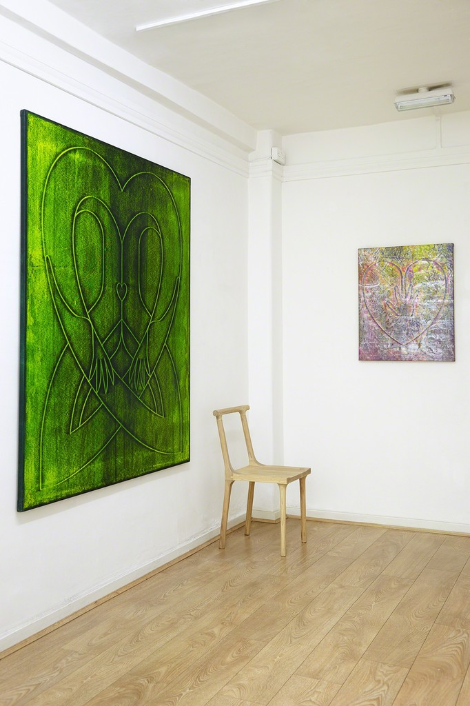 Jonathan Kelly | Acid Vapid, 2017, acrylic on canvas, 170 x 140 cm. | Hand on Heart (Against the World), 2017, acrylic on canvas, 77 x 66 cm. Bone chair by Spencer Fung Exhibition Photography: Matt Spour | All rights reserved.