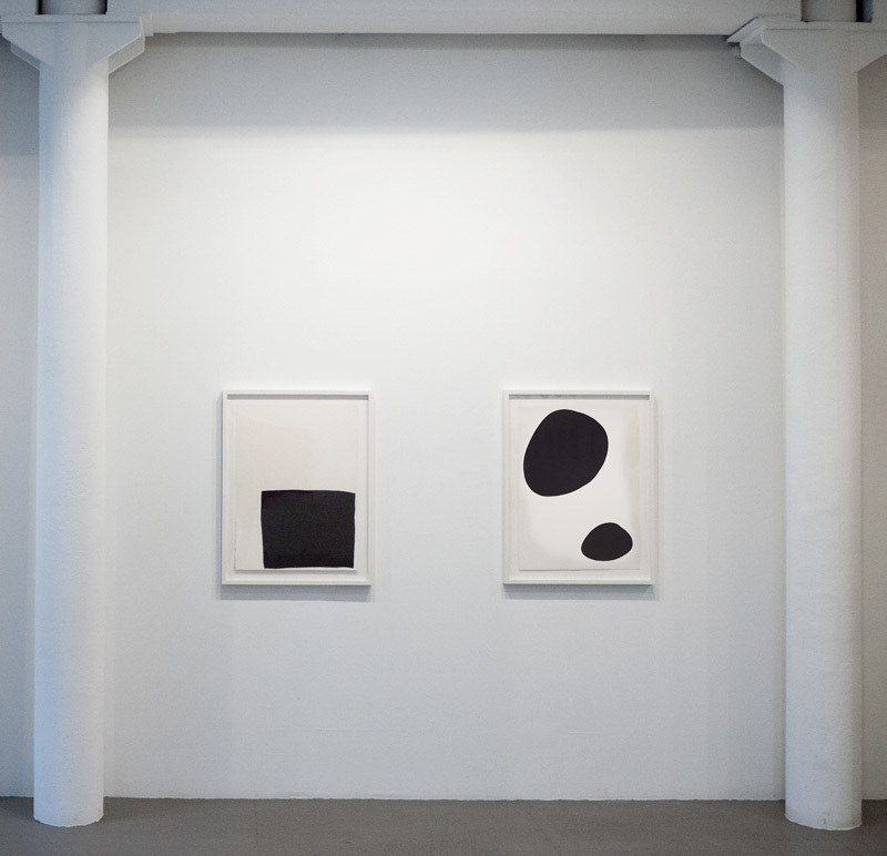 Installation view of Untitled 2496 and Untitled 2596 by IL LEE at Art Projects International, New York.