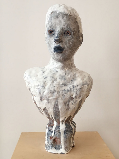 , 'Maijolica Portrait Bust with Gray Face and Blue Lips,' 2016, Asya Geisberg Gallery