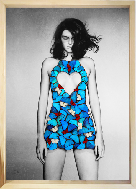 SN, 'Kendall Heart ', 2019, Painting, Mixed media and mounted butterflies on fine art paper., Eden Fine Art