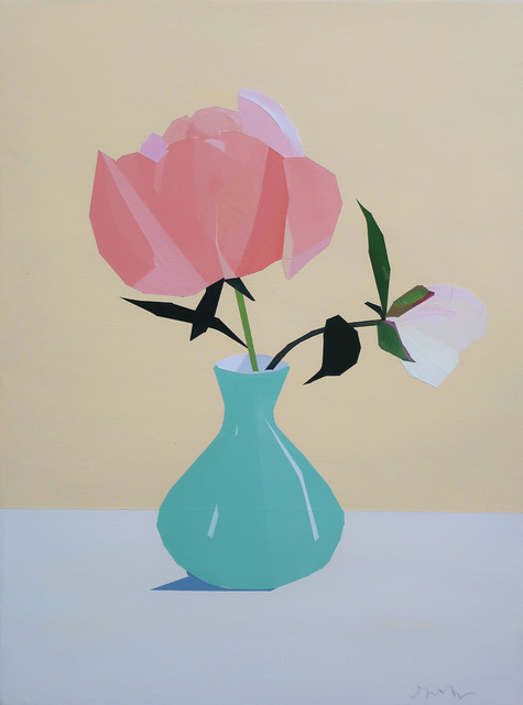 , 'Coral Peony in Turquoise Vase,' 2020, Octavia Art Gallery