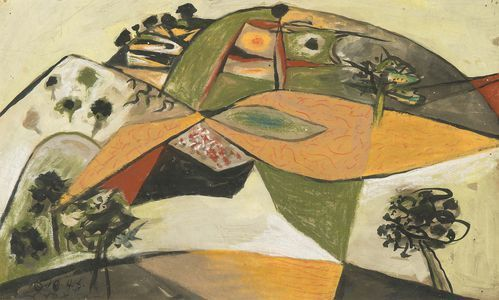 John Craxton, 'Landscape (Spetses, Greece)', 1946, Painting, Mixed media and oil on paper, Osborne Samuel