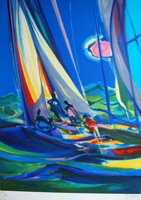 Marcel Mouly, 'Yachtmen Au Ciel Bleu  ', 2004, Print, Lithograph on Wove Paper, Baterbys