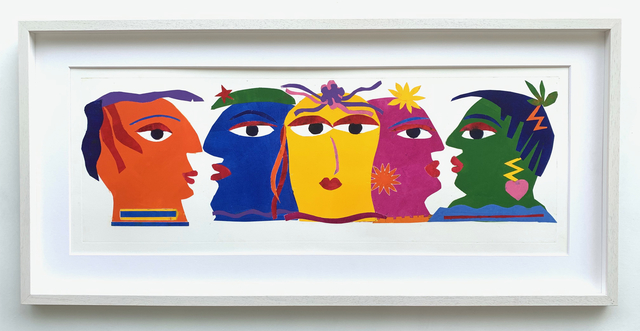 Kristiane Semar, 'Cocktail Party Five Heads', 2020, Print, Printed from cut outs with highly pigmented oil based Charbonnel etching ink on Zerkall Alt Bern 259 gsm, Dreipunkt Edition