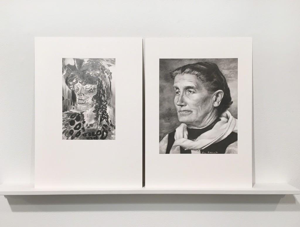 """Martí Cormand Deutsche Kunst, Und Entartete Kunst. Otto Dix, Fraulicher ideal"""" and """"Deutsche Kunst, Und Entartete Kunst. Franz Eichhorst, Bauernfrau, 2016,  graphite on paper Diptych: 12 x 8.5 in"""