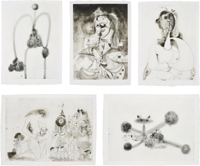 George Condo, 'More Sketches of Spain - for Miles Davis: five plates', 1991, Print, Five etching and aquatints, on Guarro paper, with full margins., Phillips